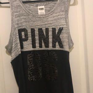 Grey and black (pink shirt )
